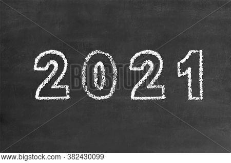 2021 Bold Numbers In Handwritten Thin Stroke White Chalk Brush Font, Stock Vector Illustration Clip