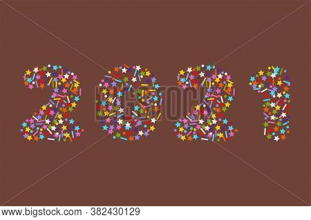 2021 Numbers In Flat Colorful Sprinkles Candy Topping Or Confetti Style Font, Stock Vector Illustrat