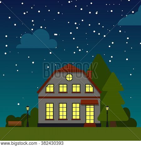 Closeup Night Street With House Trees, Bush, Clouds, Flat Cartoon Square Banner. Urban Small Town La
