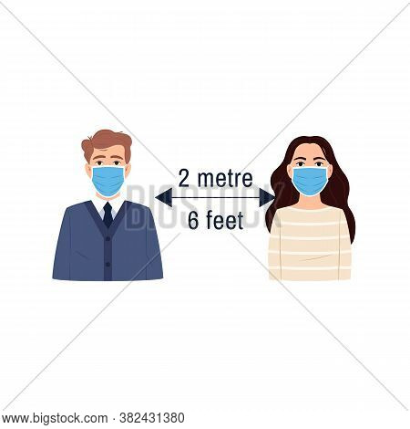 Social Distancing Icon. Flat People Girl And Man Portraits Wearing Surgical Face Mask Keep Distance
