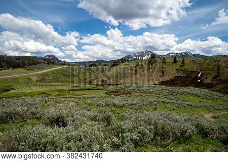 View Of The Shoshone National Forest And The Wind River Mountains - Breccia Cliffs, In Wyoming At To