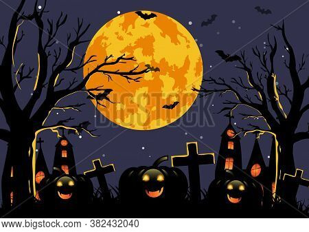 Halloween Background With Haunted House, Pumpkin, Full Moon And Trees. Template For Halloween