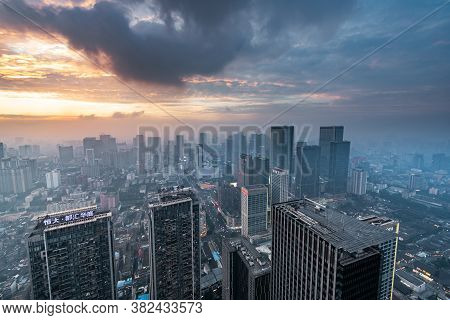 Chengdu, Sichuan Province, China - Aug 19, 2020 : Chengdu Backlight Skyline Aerial View With Clouds
