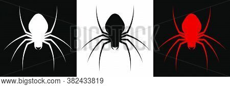 Spider Icon For Halloween Web Banner Decoration. Dangerous Poisonous Insects. Disease Carriers. A Ru