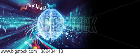 Conceptual Background Of Artificial Intelligence And Deep Learning Concept, Human Brain  On Technolo