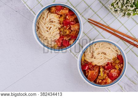 Rice Noodles With Stir Fry Vegetable In Bowl. Chinese Food.