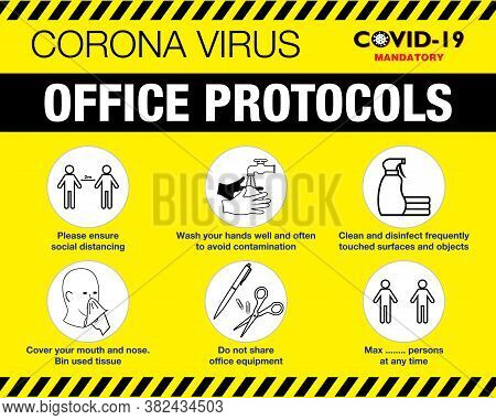 The Office Protocol Poster Or Public Health Practices For Covid-19