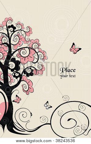 vector tree and butterflies