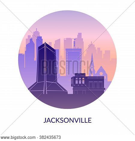 Jacksonville Florida Famous City Scape View Background.