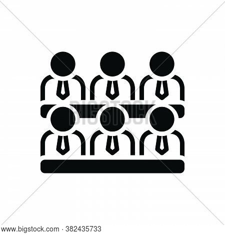 Black Solid Icon For Cabinet Parlor Pedestal Lounge Waiting-room Meeting Conference Audience Spectat