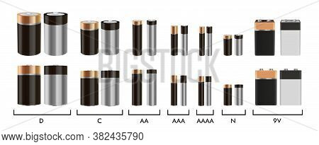 Realistic Alkaline Battery Vector Set. Isolated Objects On White Background. Diffrent Size Batteries