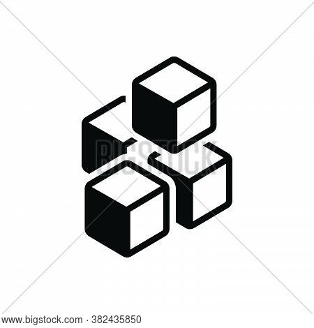 Black Solid Icon For Ice Frozen-water  Frost Rime Glaze Cube Beverage Pieces Freeze Cold Melt Drink