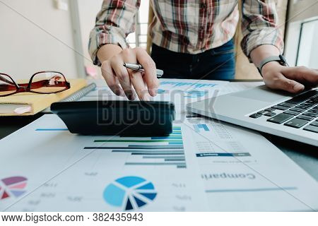 Bookkeeper Or Financial Inspector Hands Making Report, Calculating Or Checking Balance. Home Finance