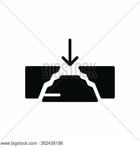 Black Solid Icon For Gap Damage Space Break Shatter Unseat Interval Crack Rift Cleft Divided