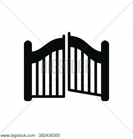 Black Solid Icon For Gate Doorway Egress Outturn Entrance Entryway Exit Evacuation