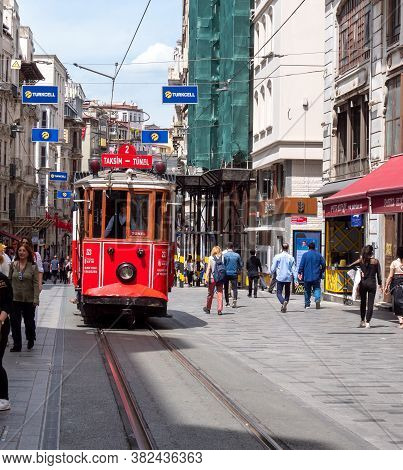 Istanbul, Turkey - May, 22, 2019: Front View Of The Taksim-tunel Tram In Istanbul
