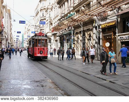 Istanbul, Turkey - May, 22, 2019: The Red Taksim-tunel Tram Approaching In Istanbul