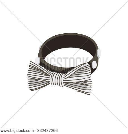 Dog Collar With Striped Bow Tie. Elegant Classic Elegant Accessory Garment Design Element Cartoon Ve