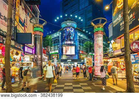 June 29, 2020: Ximending District, One Of The Most Popular Tourist Destination In Taipei, Taiwan, Al