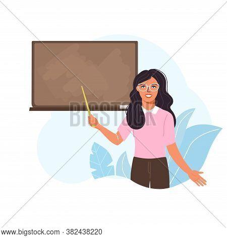 School Time Or Back To School Illustration. Woman Teacher Teach At Blackboard In Classroom. Teacher