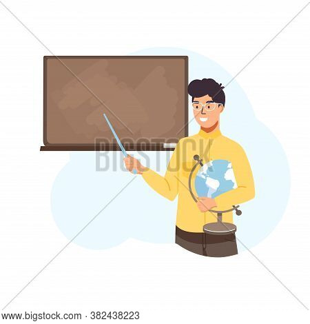 School Time Or Back To School Illustration. Man Teacher Teach At Blackboard In Classroom. Teacher Ho