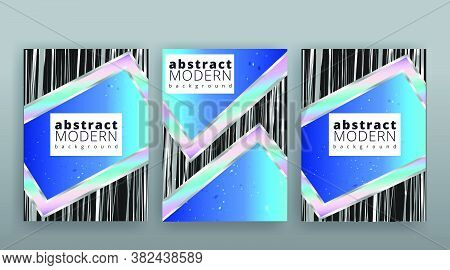 Holographic Abstract Page Template, Retro Aqvamarine Stone Mineral Shiny Hipster, Neon And Pastel Gr