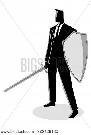 Business Concept Vector Illustration Of A Businessman Holding A Sword And Shield, Preparation, Prote