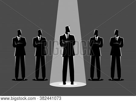 Simple Flat Vector Illustration Of A Businessman Being Spotlighted Among Other Businessmen. Stand Ou