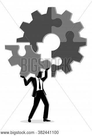 Business Concept Vector Illustration Of A Man Holding On His Shoulder The Final Peace Of Puzzle Whic
