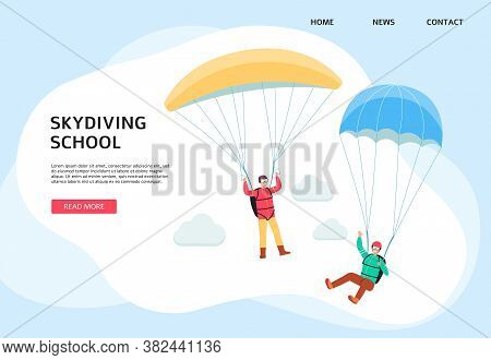 Skydiving School Or Paragliding Company Banner Template Flat Vector Illustration.