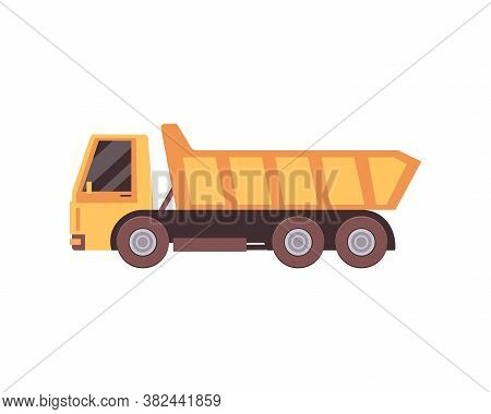 Vector Illustration Of A Yellow Dump Truck.