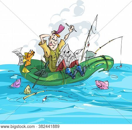 Fisherman And Fish. A Fisherman Is Doing A Crossword Puzzle On White Background