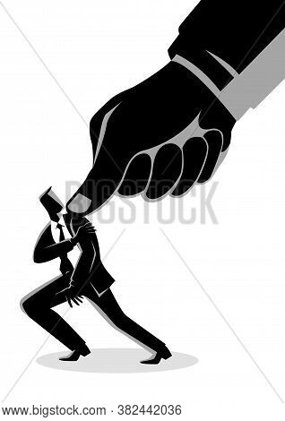 Business Concept Vector Illustration Of A Businessman Being Pressed By A Giant Thumb