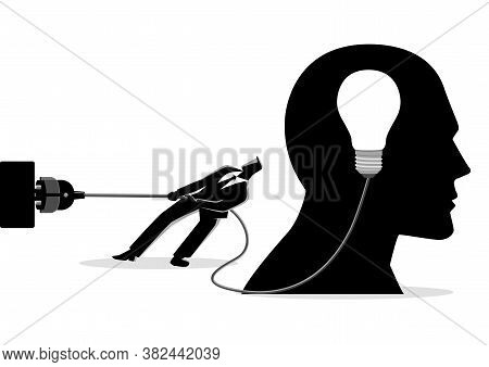 Business Concept Illustration Of A Businessman Trying To Unplug The Light Bulb Brain, Sabotage, Kill