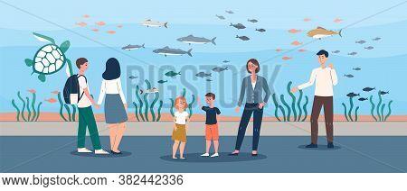 Family Trip To Big Fish Aquarium - Cartoon Couple With Children