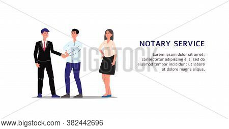 People Characters Executing Documents In Notary Service Flat Vector Illustration.