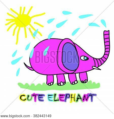 Vector Illustration Of A Cartoon Elephant. Cheerful Color Picture On A White Background. Children's