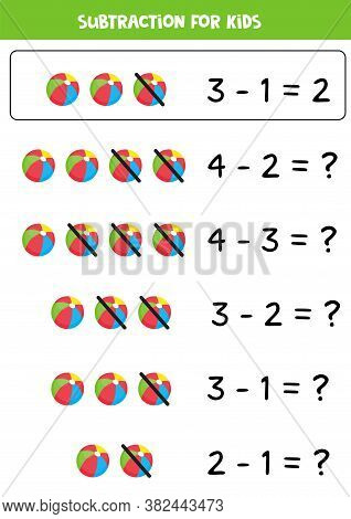 Subtraction For Kids With Cartoon Toy Ball.