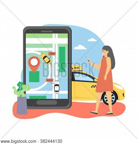 Woman Ordering Taxi Online Using Navigation Mobile App With Taxi Cab Vehicle Tracking, Flat Vector I