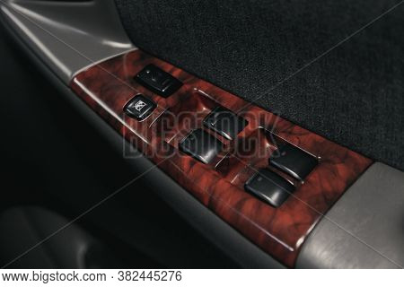 Novosibirsk/ Russia - August 25  2020: Toyota Corolla, Closeup Of A Door Control Panel In A New Car.