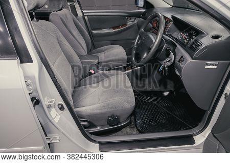 Novosibirsk/ Russia - August 25  2020: Toyota Corolla, Prestige Car Interior With Dashboard, Steerin
