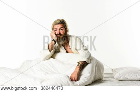 Sleep Disorders Concept. Man Bearded Hipster Having Problems With Sleep. Relaxation Techniques. Slee