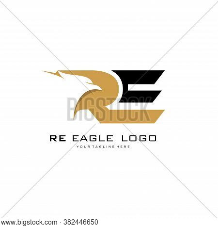 Initial Re Eagle Logo Vector Design, Isolated On White Background