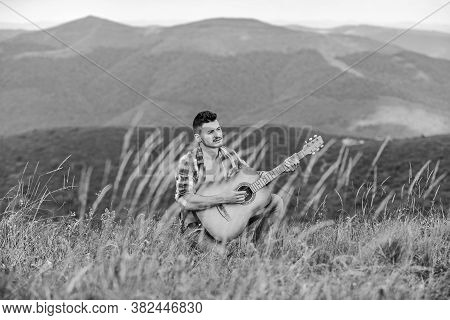 Classic Cool. Acoustic Guitar Player. Country Music Song. Sexy Man With Guitar In Checkered Shirt. H