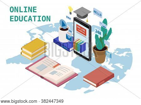 Online Education Isometric Landing Icons Composition With Smartphone Electronic Library Online Globa