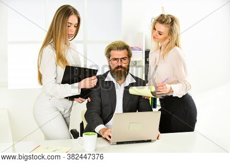 Surrounded By Beautiful Ladies. Seductive Colleague. Flirting With Boss. Man And Women Business Coll
