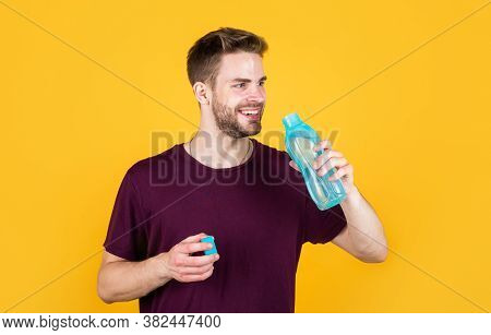 Boost Energy. Thirsty Fitness Male Enjoying Refreshing Drink. Concept Of Drinking Water Benefits. Ma