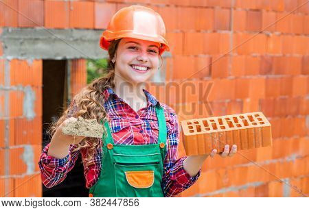 Assistant. Kid Build Construction. Engineer Teen Is Construction Worker. Professional Craftsman Or W
