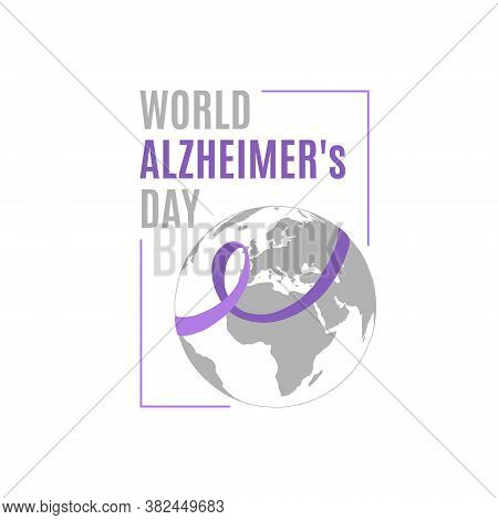 Vector Illustration On The Theme Of World Alzheimer\'s Day On September 21. Decorated With A Ribbon
