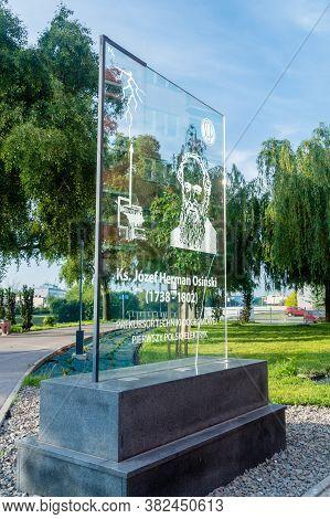 Rzeszow, Poland - June 13, 2020: Glass Plaque Commemorating Father Jozef Herman Osinski.